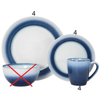 Pfaltzgraff Eclipse Blue 12 Piece Dinnerware Set. Salad & Dinner Plates + Mugs