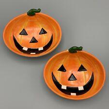 Two Halloween Pumpkin Ceramic Candy Dishes Trinket Dish Orange Jack-o'-lantern