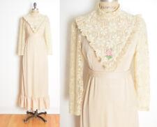 vintage 70s dress cream crochet victorian prairie cottagecore hippie long maxi S