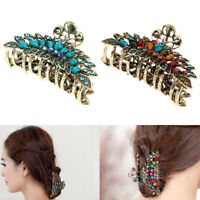 2pcs Women Vintage Large Crystal Flower Clamp Metal Hair Clip Grip Claw