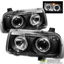 Black 1993-1998 VW Jetta LED Dual Halo Projector Headlights Headlamps Left+Right