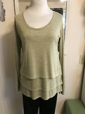 NWT Tahoe Made Lng Sleeve Yellow & Gray Asymmetrical Layers Tunic Organic Ctn. L