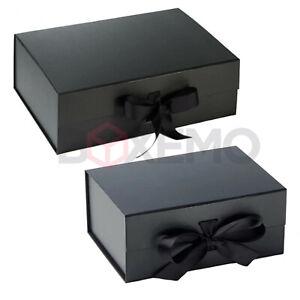 Black Gift Box With Ribbon - Two Sizes - Magnetic Box - Large Gift Box - Black