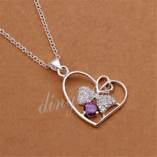 """Bowknot Heart Crystal Pendant & 18"""" Necklace Chain in 925 Sterling Silver Z633"""