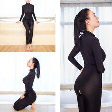 Women Solid Sleepwear Bodysuit Zipper Long Sleeve Open Crotch Lingerie Jumpsuit