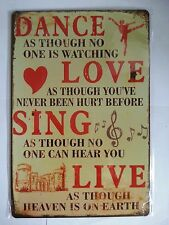 DANCE LOVE SING  RETRO PICTURE IN METAL TIN SIGN WALL DECOR POSTER UK SELLER