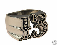 LOOK New art design LUCKY 13 XIII thirteen motorcycle jewelry ring Sterling silv