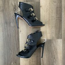 Nine West Mohawk It Peep Toe Heeled Black Leather Bootie Womens Size 9.5
