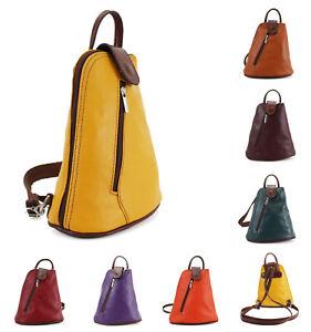Small Vera Pelle Ladies Leather Backpack Women Shoulder Rucksack Travel Gym Bag