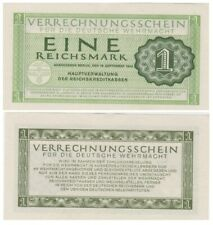 One ReichsMark German banknote issued in 1944 aunc Military Money Paper