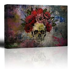 Human Skull with Roses Flowers over Colorful Splattered Paint - Canvas - 24x36