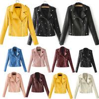 Women Faux Leather Jacket Coat Zip Up Biker Punk Ladies Casual Tops Outerwear UK