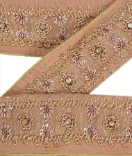 Vintage Sari Border Antique Hand Beaded 1 YD Indian Trim Ribbon Pure Silk Lace