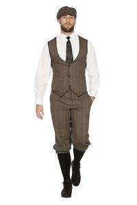 20er Jahre Peaky Blinders Anzug Knickerbocker Herren Kostüm Mütze Braun-Beige