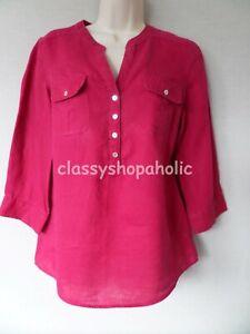 M & S Woman Raspberry Linen Tunic Top - Size 10