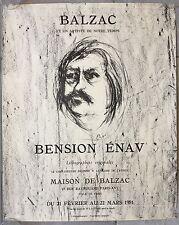 Affiche Exposition BALZAC BENSION ENAV Lithographies Originales MOURLOT 1981 *