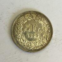 Switzerland Swiss Helvetia 1/2 Franc Silver Coin 1945 B