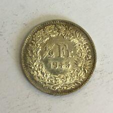 Suisse swiss helvetia 1/2 franc monnaie argent 1945 b