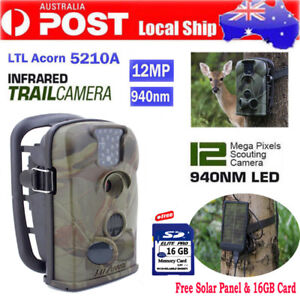 12MP Hunging Game Trail Camera Acorn Ltl-5210A Home Security Cam+Solar Panel+16G