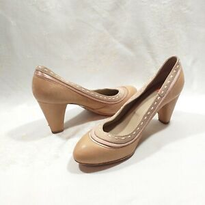 BOSS HUGO Heels Italy Women's Pink Beige Leather Shoes Boats With Bed Tones 37