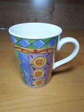 "Sango SWEET SHOPPE 3026 Set of 6 Mugs 4 3/8"" Blue Yellow"