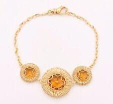 "Filigree Wavy Round Citrine Bracelet 14K Yellow Gold Clad Silver 925 QVC 7 3/4"""