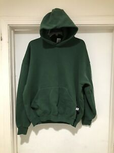 Vintage 90s Russell Athletics Blank Green Pullover Hoodie Size XL 50/50