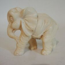 """Vintage Carved Alabaster Elephant Statue 3"""" x 4"""" By A. Santini Made In Italy"""