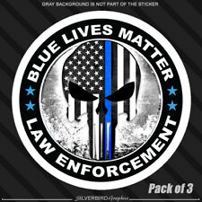 3 Pk Blue Lives Matter Thin Line Punisher Hard Hat Sticker Police Officer Decal