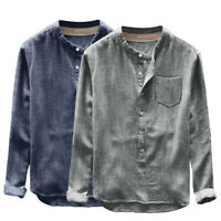 Men's Vintage Loose Casual Cotton Blends Shirts Stand Collar Long Sleeve-Blouse