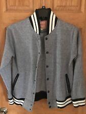 Trademark Brooklyn Cloth Men's Varsity Baseball Jacket Gray Size Large Cardigan