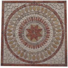 Naturstein Marmor Rosone 60x60 Mosaik Travertin Einleger Rot Creme Fliesen 024