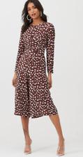 Boohoo Twist Front Polka Dot Jumpsuit UK Size 10 Chocolate Brown NWT