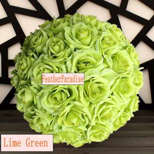 Rose Flower Ball Wedding decoratin Ball Kissing Ball 9-10 Inches Lime Green