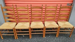 Set of 5 Vintage Rustic Farmhouse Ladder Back Dining Rush Seat Chairs