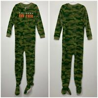 Carters Boys Awesome Brother Camo One Piece Footed Pajamas Full Zip Green Size 7