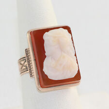 Carved Cameo Ring Size 6.5 Vintage 14K Rose Gold Victorian Lady