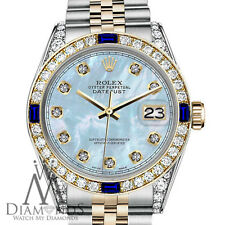 Rolex 26mm Datejust 2 Tone Baby Blue MOP Dial with Sapphire & Diamond Bezel