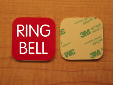 Engraved 3x3 RING BELL Plastic Tag Sign Plate   Red Doorbell Plate Plaque