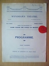 Wyndham's Theatre Programme 1910- NOBODY'S DAUGHTER by George Paston