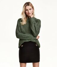 NEW H&M High Neck Cable Chunky Knit Dark Green Sparkly Glitter Jumper Sold Out