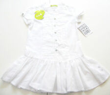Abito Taglia 98 ginkana DUDU NUOVO 100% COTONE Long Camicia Bianco Bambini Estate