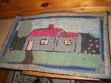 Vintage Handmade HOOK RUG / Early Farmhouse Rug