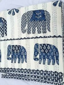 Indian Handmade Quilt Elephant Kantha Bedspread Throw Cotton Blanket Gudri Queen