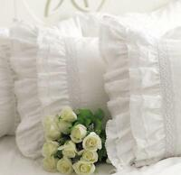 Lace Pillow Cases - Luxury French Provincial Vintage Inspired White Ruffled Sham
