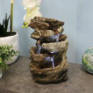 Sunnydaze Tiered Rock and Log Tabletop Fountain Feature with LED Lights -