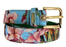 DOLCE & GABBANA Leather & Floral Cotton Gold Buckle Logo Belt 70cm 28in BNWT