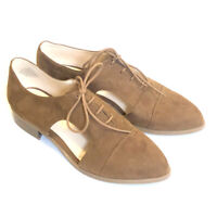 Nine West NAMBERO womens 7 oxfords lace up Loafer shoes brown cut out Casual