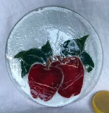 """Glass Plate PAIR OF APPLES Fused Art Glass SIGNED Peggy Karr 8"""""""