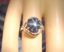 NICE DEEP BLUE GENUINE NATURAL STAR SAPPHIRE 3.10 CTS with DIAMOND 14K GOLD RING